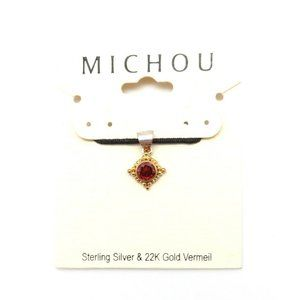 MICHOU JANUARY Garnet Silver Gold Square Pendant